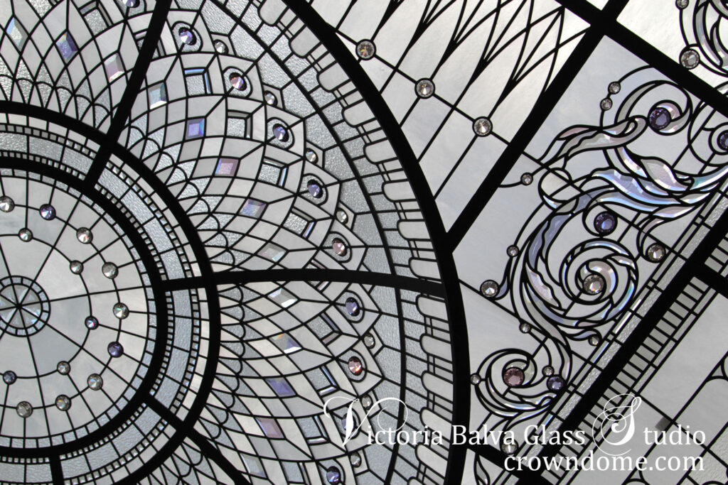 Stained and leaded art glass ceilings. Custom designed and builr for luxury homes