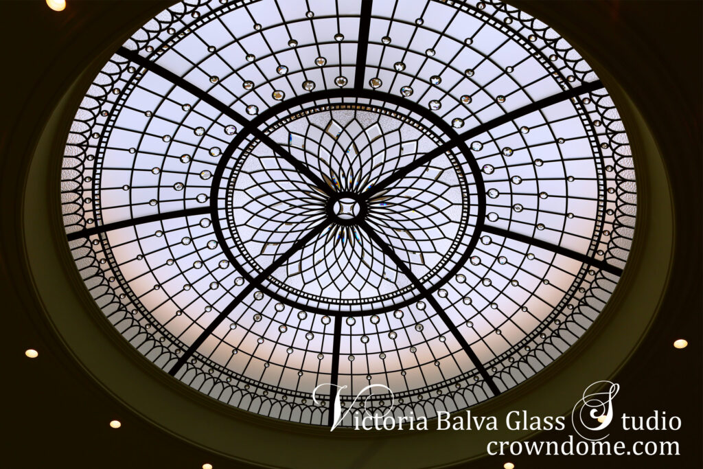 art glass ceiling dome in simple geometric style with crystal jewels and custom hand bevelled glass